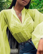 Solid See Through Lantern Sleeve Shirt