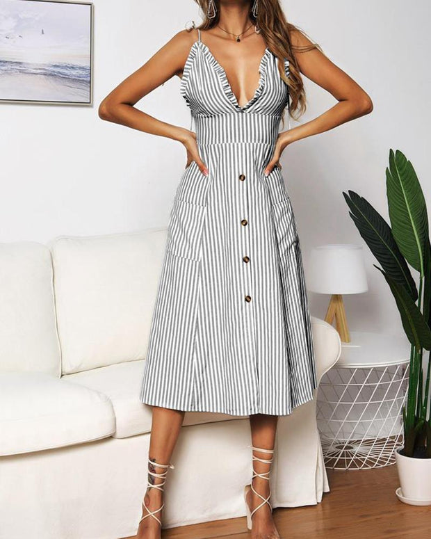 Striped V Neck Midi Dress
