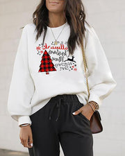 Christmas Long Sleeve Casual Letter Tree Print Sweatshirt