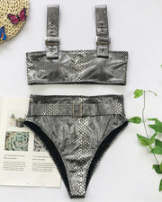 Crocodile High Waist Bikinis Set