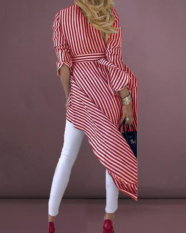 Striped Tied Front Dip Hem Shirt