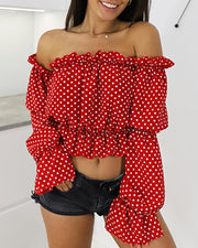 Off Shoulder Polka Dot Lantern Sleeve Blouse