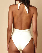 Solid Plunge One-Piece Swimsuit
