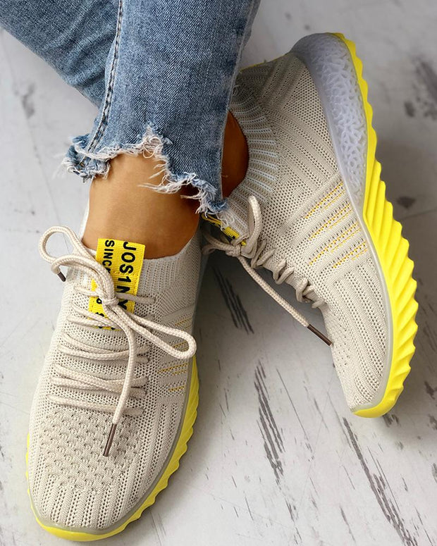 Colorblock Knitted Breathable Lace-Up Yeezy Sneakers