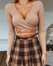 Solid V Neck Rib Crop Top