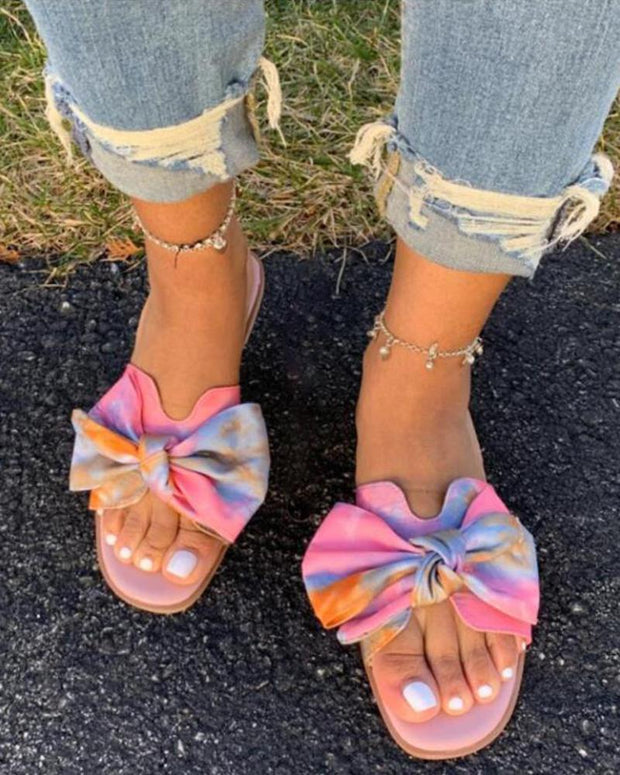 Multicolored Bow Strap Slides