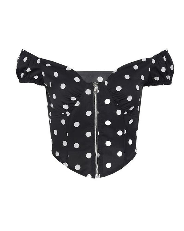Polka Dot Full Zip Crop Top