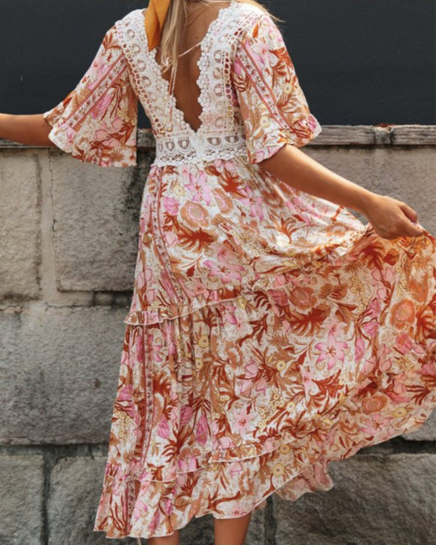Floral Lace Top Maxi Dress