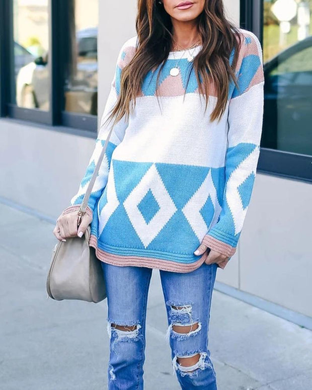 Colorblock Retro Patterns Long Sleeve Loose Sweaters