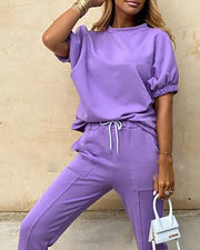 Solid Short Sleeve Drawstring Top & Pant Sets