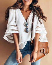 Solid Mesh Splicing Flared Half Sleeve Blouse