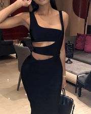 Squared Neck Cut Out Waist Skinny Dress