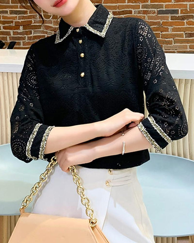 Embellished Collar Lace Shirt