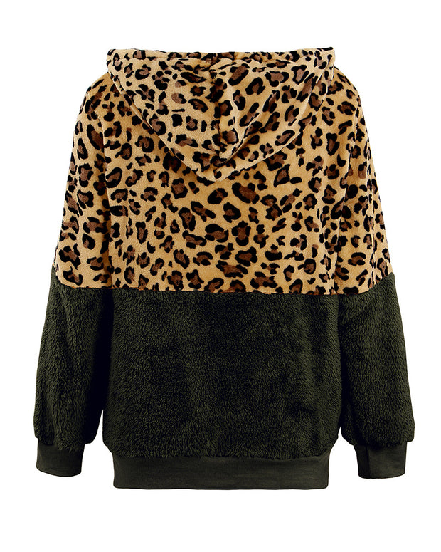Cheetah Print Colorblock Fluffy Hooded Coat