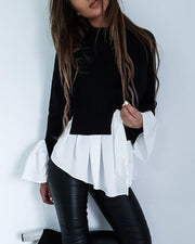Colorblock Insert Ruffles Long Sleeve Blouse