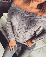 Off Shoulder Braided Knitted Casual Sweater