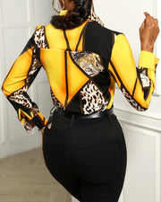 Cheetah Print Colorblock Buttoned Long Sleeve Shirt