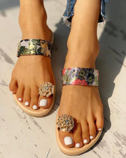 Floral Studded Toe Ring Casual Sandals