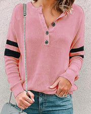 Striped Colorblock Buttoned Design Blouse