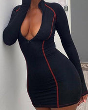 Sexy Zip Up Contrast Bodycon Dress