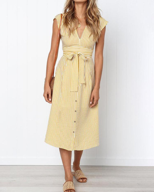 Vertical Stripes Single Breasted Belted Dress