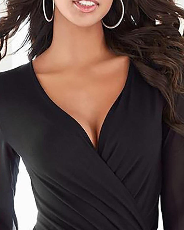 Sheer Mesh Glitter Cuff Wrap Top