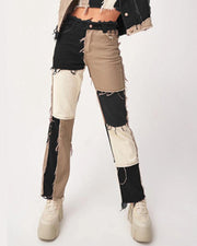 Colorblock Patchwork Straight Leg Denim Pants