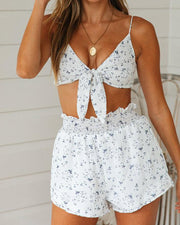 Floral Tie Front Crop Top & Shorts