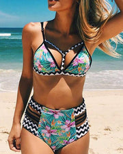 Floral Print Ladder Cut Out Bikini Set