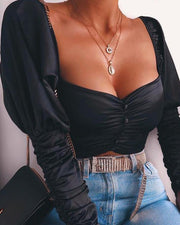Square Neck Ruched Crop Top
