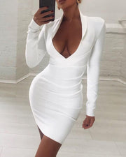 Solid Long Sleeve Plunge Ruched Bodycon Dress