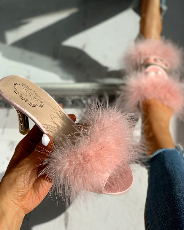 Peep Toe Fluffy Thin Heeled Sandals