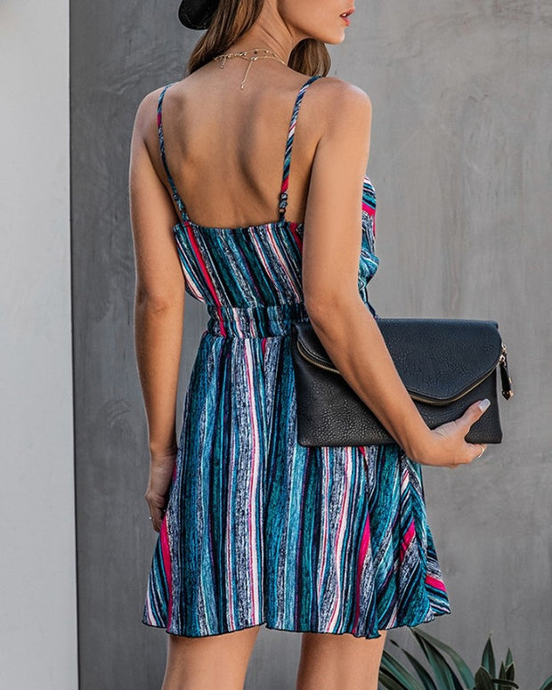 Striped Colorblock Backless Wrap Dress