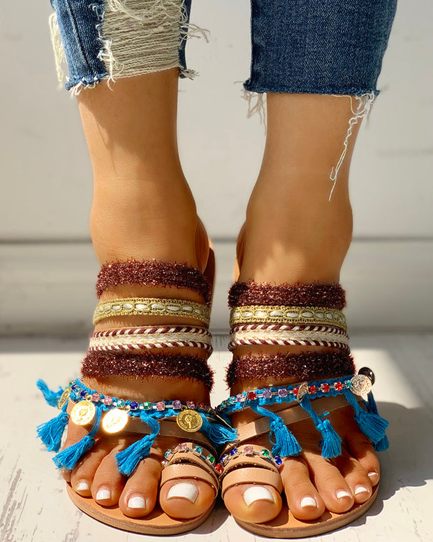 Fluffy Studded Tassel Design Toe Ring Sandals