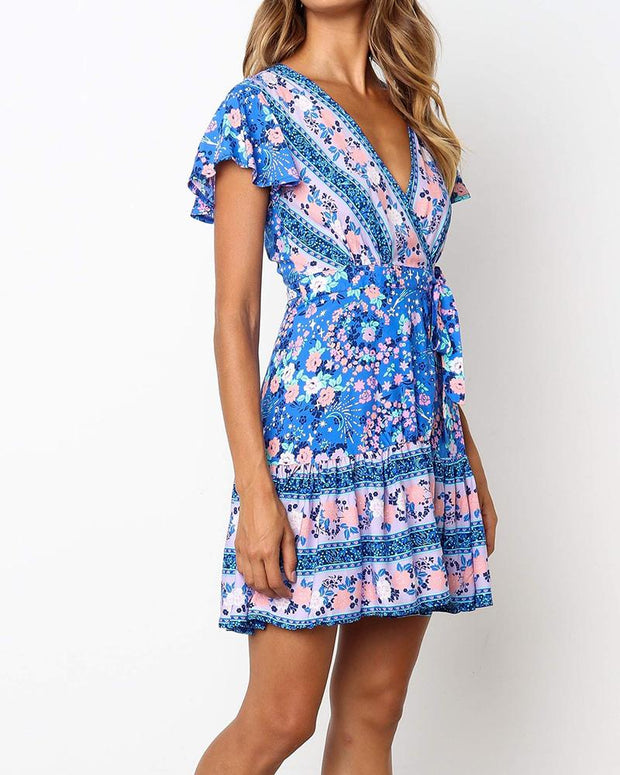 Bohemian Floral Print Peasant Dress