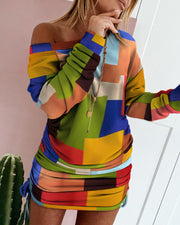 Colorblock Drawstring Ruched Sweatshirt Dress