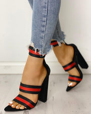 Stripes Tape Open Toe Chunky Heeled Sandals