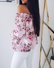 Off Shoulder Shirring Floral Print Loose Blouse
