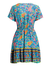 V-neck Floral Print Casual Dress
