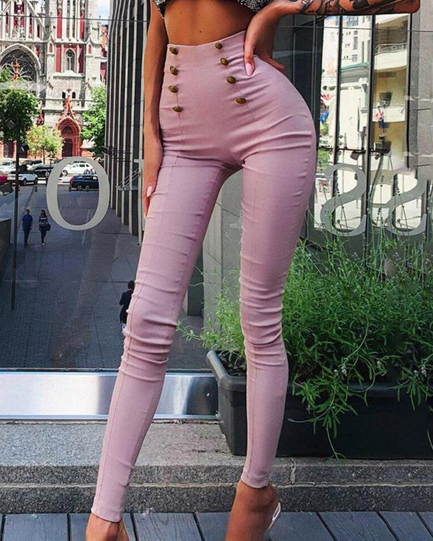 Solid Faux Button Skinny Pants