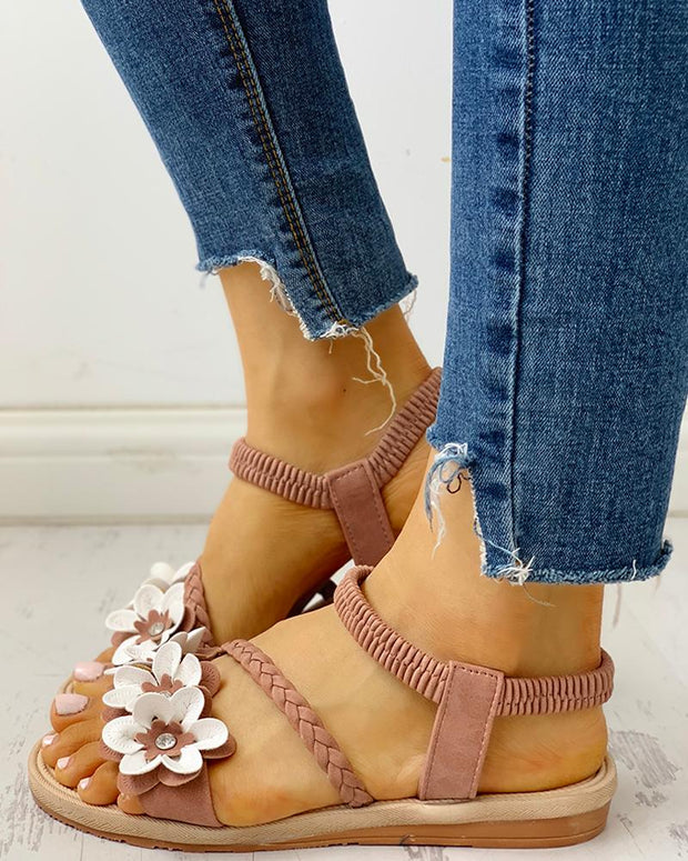 Flower Embellished Stud Braided Detail Sandals