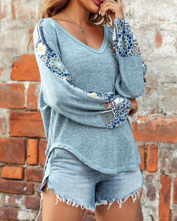 Baroque Print Colorblock Long Sleeve Casual Top