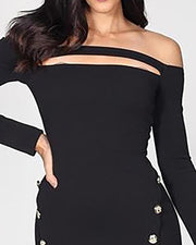 Off Shoulder Cut Out Button Detail Dress