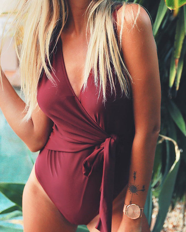 Solid V-Neck Knot Waist One-Piece Swimwear