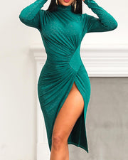 High Slit Ruched Glitter Party Dress