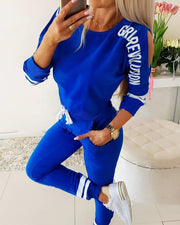 Cut Out Print Sweatshirt & Pants Sports Set