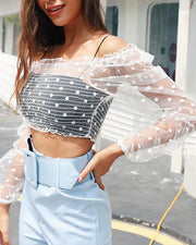 Polka Dot Mesh Crop Top