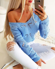 Hollow Out Plain Casual Sweater