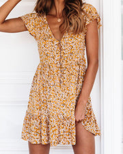 Floral Half Button Mini Dress