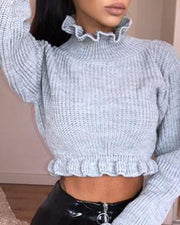 Solid Ruffle Trim Crop Top